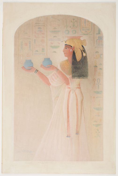 Queen Nefertari, watercolor over graphite on medium, smooth cream wove paper, 1908, by Howard Carter. Photo: Worcester Art Museum.